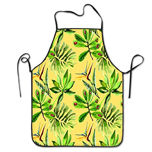 zexuandiy Aprons Bib Unisex Lace Adjustable Polyester 20.4 * 28.3 inch Tropical Hawaii Leaves Palm Tree Pattern Watercolor Style Aquarelle wild Flower Texture Wrapper Frame Good