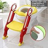 Riduttore WC per Bambini con Scaletta, Sedile da toilette Vasino, Pieghevole Kit Toilette Trainer Step Up con Cuscino Tenero(giallo)