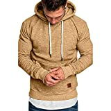 Herren Pullover Hoodie Basic Kapuzenpullover Langarm Männer Herbst Winter Casual Hoodie Sweatshirt Hoodies Top Trainingsanzüge Pulli Riou Sale (5XL, Khaki)