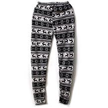 Cálido Mujer Pantalones de Punto Leggings Estampado Copo de Nieve para Mujer
