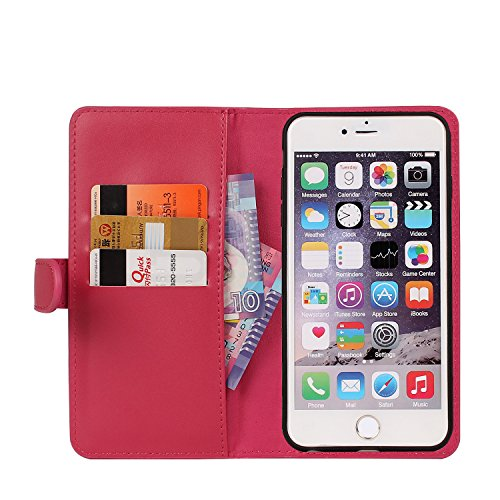 Vandot 3 in1 Reißverschluss Viele Karte Card Slot PU Handtasche für iPhone 6 4.7 Zoll Leder Wallet Magnet Case Hülle Brieftasche Luxus Flip Business Zipper Tasche Holster Loch Shell Schutz Bag Etui +  Chain ROSE Rosa