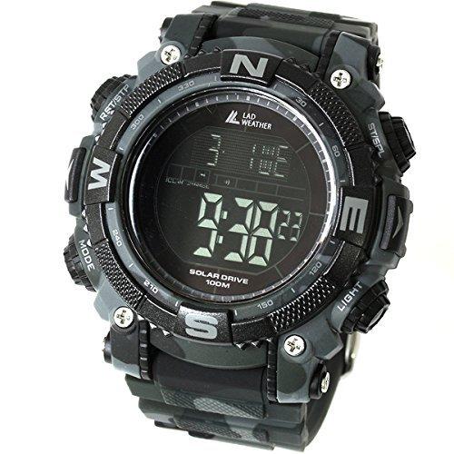 [Lad Weather] leistungsstarken digitalen Uhr Solar Sport Militärische Herren Uhr mit Zeit zurück und partielle -