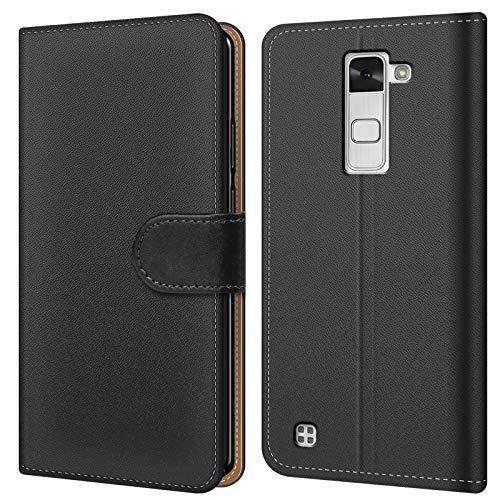 Conie BW18667 Basic Wallet Kompatibel mit LG Stylus 2, Booklet PU Leder Hülle Tasche mit Kartenfächer & Aufstellfunktion für Stylus 2 Case Schwarz