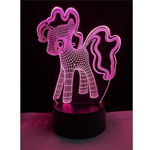 rl Unicorn 3D süßes Lakritz Nachtlicht LED USB Licht Multicolor Stimmung Desktop Glühbirne Licht Weihnachtsgeschenk ()