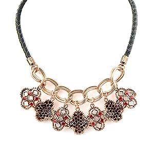 Fashion Bijoux neuste Collier Chaîne Lichen décoratif or en cuir synthétique pour femme
