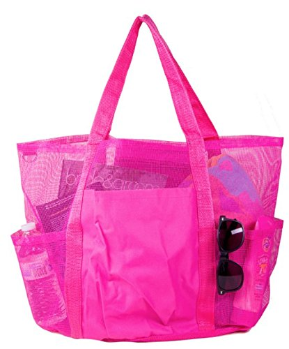 Large Angeltasche Mesh Familie Beach Turnbeutel Tote, damen, rose