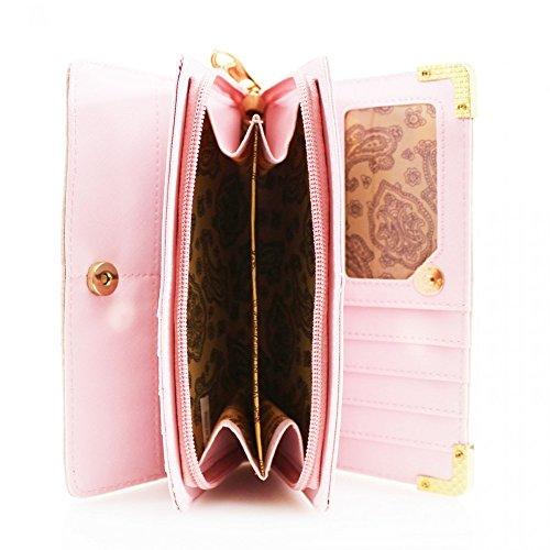 LeahWard® Damen Kunstleder Geldbörsen Groß Marke nett Brieftasche Geldbörse Tasche CW1608 Fuchsia