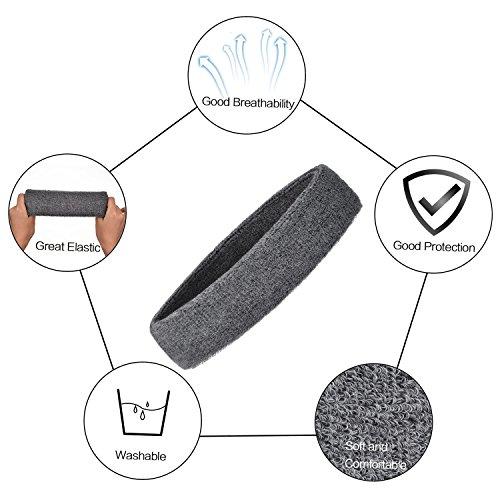 Willbond 3 Pièces Bandeau de Sport pour Hommes et Femmes, Bande de Cheveux Élastique Non Slip Évacuation de l'Humidité Bandeau en Coton pour Sports (Gris)