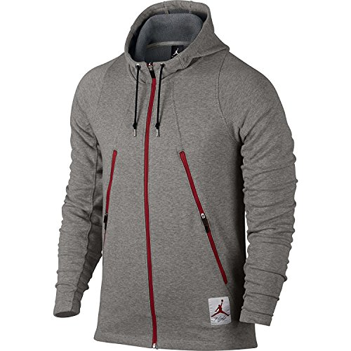 Jordan Retro Full Zip Men's Hoodie Dark Heather Grey/Gym Red 724720-063 (Size L) Retro Full Zip Hoodie