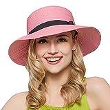 Fortunato signore cappello spiaggia cappelli elegante Sole della paglia di sole estivo cappello da sole cappello da sole estivo huete rosa