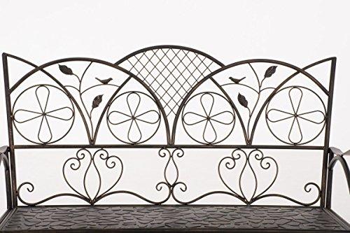 CLP Metall-Gartenbank RIEF, Landhausstil, lackiertes Eisen, ca. 110 x 50 cm, Design nostalgisch antik Bronze - 3