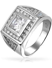 Bling Jewelry Corte Princesa cuadrado CZ Allanar lo triángulo Hombre Engagament Anillo Plata