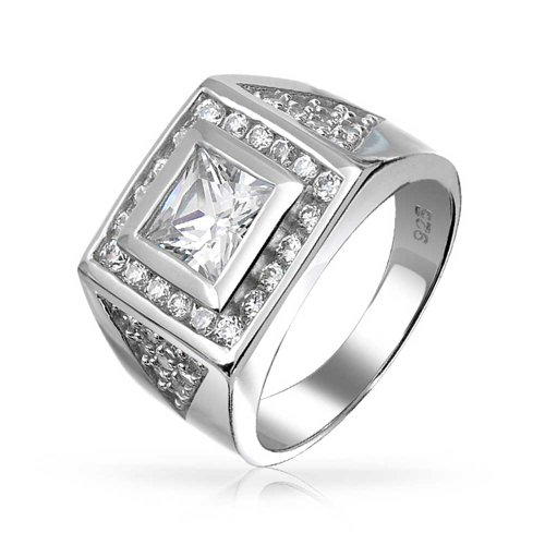 Bling Jewelry Square Princess Cut Pave CZ Triangles Mens Engagement Ring 925 Sterling Silver