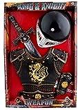 Fasching Fete–Ritter ausrütung Peto Espada Espada plana visera Dragón Casco, 104–128, 4–8años, bronce