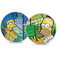 The Simpsons pts37t/2VB Juego Plato Pizza, Modelo Homer/Marge, Porcelana,, 2Unidad