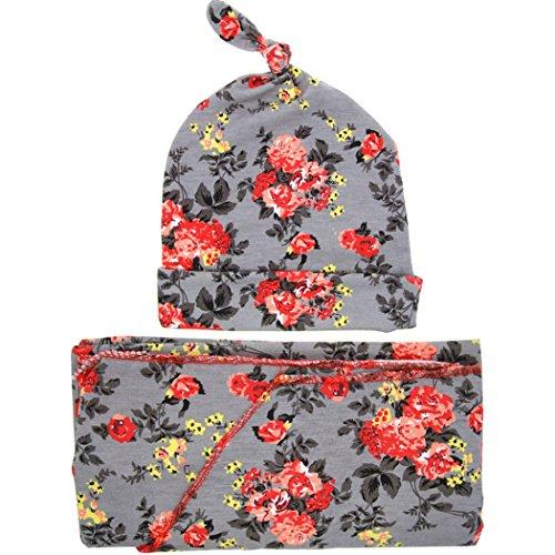 Dehutin Baby Mädchen 2 Stücke Blume bedruckt Baby-Tröster Set Haarband Kappe Und Decke Für Babys