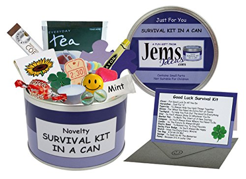 Good Luck Survival Kit In A Can. Humorous Novelty Fun Gift - Present & Card All In One. New Job, Leaving, Emigrating, Moving Away etc. Customise Your Can Colour. (Purple/Lilac) by Survival Kit In A Can