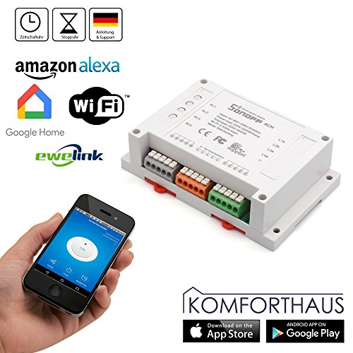 Komforthaus Sonoff 4CH Funk WiFi WLAN 4-Kanal Schaltaktor Hutschiene, deutsche Version, Smart Home Switch für Alexa, Google Home, Android und iOS App