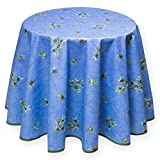 Provencestoffe.com Runde Tischdecke blau Oliven Allover, 180 cm, pflegeleicht