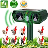 KOEPUO Cat Repellent, Animal Repeller Ultrasonic Solar Powered Waterproof Cat Scarer Pest Repeller