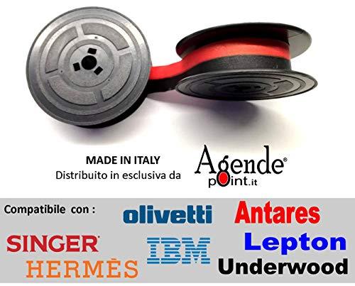 Nastro Macchina da Scrivere in stoffa doppia bobina nero/rosso comp per OLIVETTI,Hantares,Valentine,Lepton,Irish e tante altre