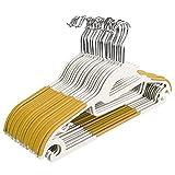 BATHWA 20 Stück Kleiderbügel Anzugbügel, 360° drehbarer Haken mit rutschfeste Oberfläche Platzsparend 0,6cm Antirutsch, Gelb
