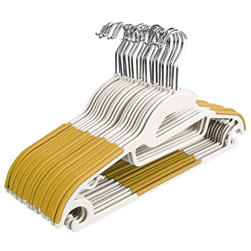 Homdox 20 Stück Antirutsch Kleiderbügel Rutschfester Kunststoff Platzsparend Aufhänger für Anzug/Hemd/Hose Gelb
