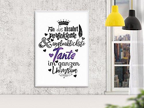 Wandgedanken Art-Print Für die absolut perfekteste Tante, Farbe:weiss;Größe:DIN A3