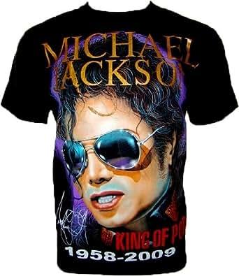 MICHAEL JACKSON T-SHIRT 'HIStory Tour/ Silver Glasses' Fanshirt Schwarz Gr M