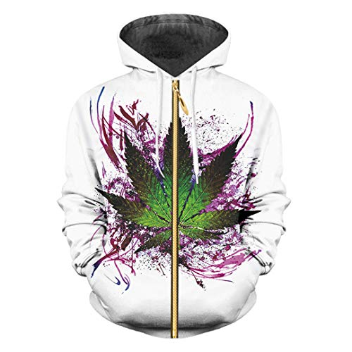 3D Print Blätter Flower Jacket Fashion Zip Hoodie beiläufige dünne Hoody Sweatshirt Leaves Flower M -