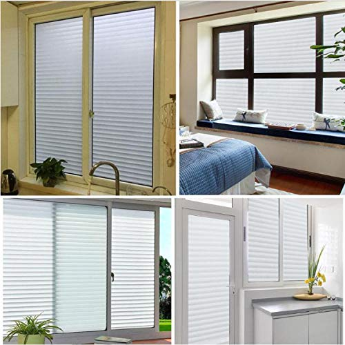 libby-nice Size 45 * 200Cmpvc Frosted Stained White Frosted Line Blind Style Privacy Stripe Window Film Glass Sticker Privacy Adhesive 45 * 100Cm - Libby Stripe