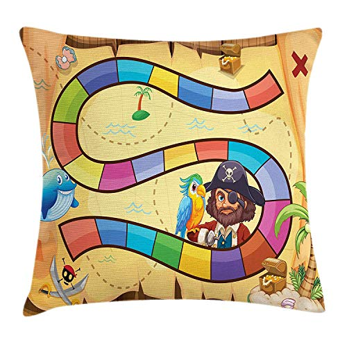 Kid's Activity Throw Pillow Cushion Cover, Treasure Hunt in The Adventure of The Pirate Cove Cartoon Drawing Style, Decorative Square Accent Pillow Case, 18 X 18 Inches