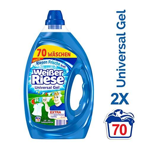 Weißer Riese Universal Gel, Flüssigwaschmittel, 140 (2 x 70) Waschladungen, extra stark gegen Flecken