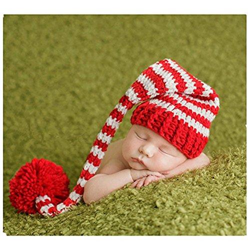 Neugeborene Baby Fotografie Requisiten Boy Girl Crochet Kostüm Outfits Weihnachten langem Schwanz (Kostüm Und Schwanz Hut Herren)