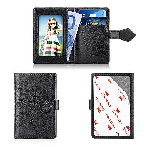 mEUpzzk Handy-Geldbörse, dünn, 3M, Selbstklebende Kreditkartenhalterung, für iPhone/Android/Samsung Galaxy und die meisten Smartphones, schwarz - Sperrige Pullover