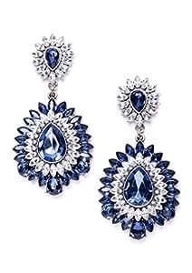 Happiness Boutique Orecchini Statement Stella Blu Royal | Orecchini XXL Oversize Gocce Cristallo Bianco senza nickel