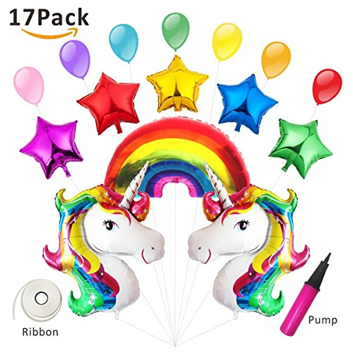 eko Regenbogen Ballon Kindergeburtstag Geburtstag Unique Party Supplies Rainbow Unicorn Set Folieballon Helium 15 Pcs (Unicorn Party Supplies)