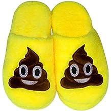LUOEM Zapatillas de Estar por Casa Zapatillas Peluche Algodón Cómodas Pantuflas Invierno Antideslizante (Amarilla Divertida Cara Sonriente Caca)