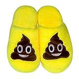 LUOEM Zapatillas de estar Por Casa Zapatillas Peluche Algodón Cómodas Pantuflas Invierno Antideslizante (Amarilla Divertida Cara Sonriente Caca) Size 44-45