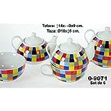 DonRegaloWeb - Set - Juego de 6 tazas con tetera de cerámica decorada con cuadrados de distintos colores