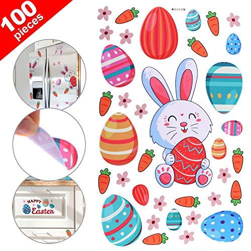 Chinco 100 Stücke Ostern Hase Ei Wand Abziehbilder Fenster Aufkleber Wand Aufkleber Wand Dekoration mit Ostern Hase Ei Blume Karotte Muster für Schule Haus Büro Verwenden Partei Vorräte -