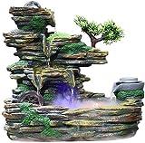 Knoijijuo Cucina Pranzo Soggiorno Fontana casa in Pietra fontane da Giardino fontane da Interno Fortunato Regalo di svolta Decorazione Feng Shui con nebulizzatore,M