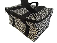 Black/white leopard animal print recycled eco friendly, waterproof & insulated (hot & cold) ladies, girls, kids, lunch bag, handbag by Fat-catz