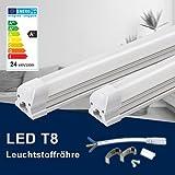 150CM LED Leuchtstoffröhre komplett-Set, Leuchtstofflampe mit G13-Fassung, 24W 4000K Naturweiß 2150lm 48Watt-Ersatz, Deckenleuchte Unterbauleuchte Schranklicht, Montagefertig, Aufklebar, milchig