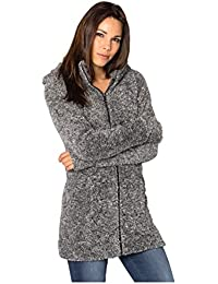 SUBLEVEL Damen Teddy-Fleece Mantel | Kuscheliger Langer Fleecemantel mit hohem Kragen