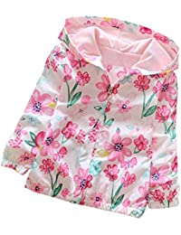 ESHOO Bébé Enfant Fille Floral Imperméable Manteau de Pluie à Manche Longue
