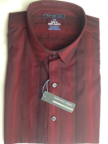 Van Heusen -  Camicia Casual  - A righe - Classico  - Maniche lunghe  - Uomo Rosso Red and black stripe