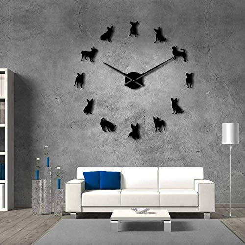 Asbjxny Chihuahua Hund DIY Wandkunst Riesen Acryl Wanduhr Hunderassen Welpen Mops Große Nadeln Moderne DIY Uhr Uhr Chihuahua Mom Geschenk37Inch (Mom Uhr)