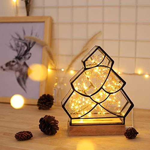 Kreative Massivholz Nachtlicht Feuer Baum Silber Blume Baumform Polygon Weihnachtsbeleuchtung Tischlampe Geburtstagsgeschenk Valentinstag Geschenk