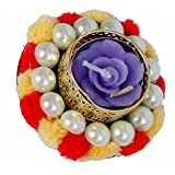 Wonder Kreations Diwali Decorative Diya With Wool And Pearl Cream And Red Set Of 2